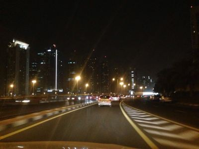 On Sheikh Zayed road in the evening.